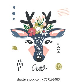 Cute cartoon dear girl with flowers on head. Childish print for nursery, kids apparel,poster, postcard. Vector Illustration