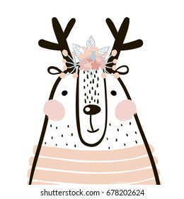 Cute cartoon dear girl in scandinavian style. Childish print for nursery, kids apparel,poster, postcard. Vector Illustration