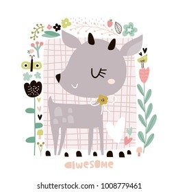 Cute cartoon deer in floral frame in scandinavian style. Childish print for nursery, kids apparel,poster, postcard. Vector Illustration