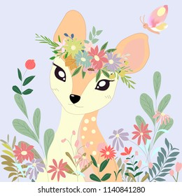 Cute cartoon deer and her crown in flower garden illustration pastel colorful doodle comic art vector