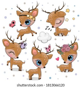 Cute Cartoon deer isolated on a white background