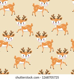 Cute cartoon deer seamless pattern. Colorful vector illustration for fabric print, wallpaper, wrapping paper.