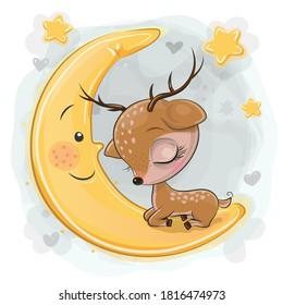 Cute Cartoon Deer is sleeping on the moon