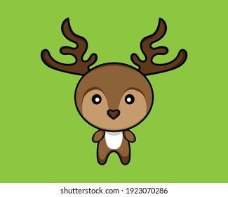 Cute cartoon deer vector illustration.