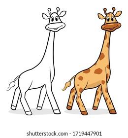 Cute cartoon design little giraffe walk and smily. Animal wildlife vector illustration design.