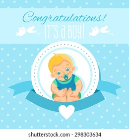Cute cartoon design template for baby shower,it's boy. Ready design template for greeting card, baby shower invitation,banner,poster. Cute cartoon newborn baby. Vector illustration