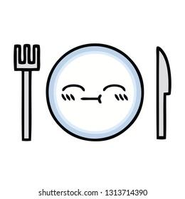 cute cartoon of a dinner plate