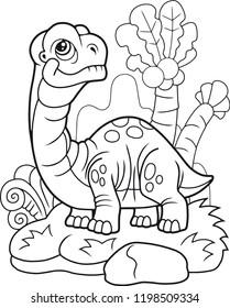 cute cartoon dinosaur apatosaurus, funny illustration, coloring book