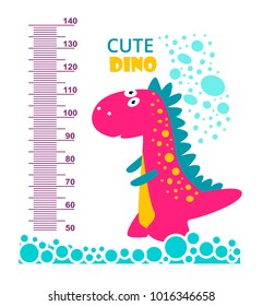 Cute cartoon dinosaur. Meter wall or height meter from 50 to 140 centimeter