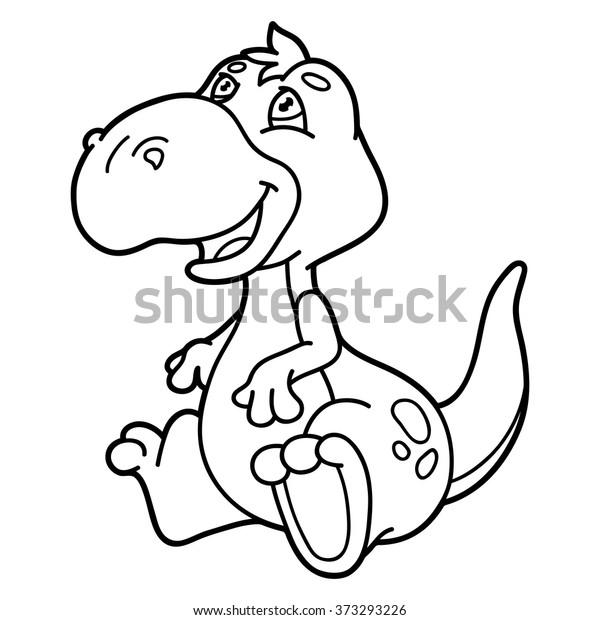 Cute Cartoon Dinosaur Outline Vector Illustration Stock Vektorgrafik