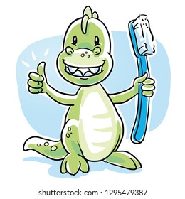 Cute cartoon dinosaur with shiny teeth, holding a toothbrush, showing thumb up. Hand drawn cartoon sketch vector illustration, whiteboard marker style coloring.