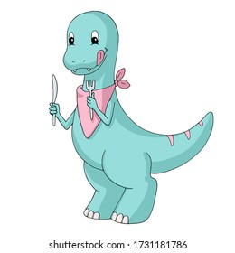 Cute cartoon dinosaur (tyrannosaur) wears a bib and holds a knife and a fork. Gentle turquoise and pink pastel colors.  Isolated object on white background. Decor element for kids products.