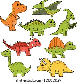 Cute cartoon dinosaurs: Ankylosaurus, Brachiosaurus, Parasaurolophus, Pterodactylus, Spinosaurus, Stegosaurus, Triceratops, Tyrannosaurus Rex. Vector illustration.