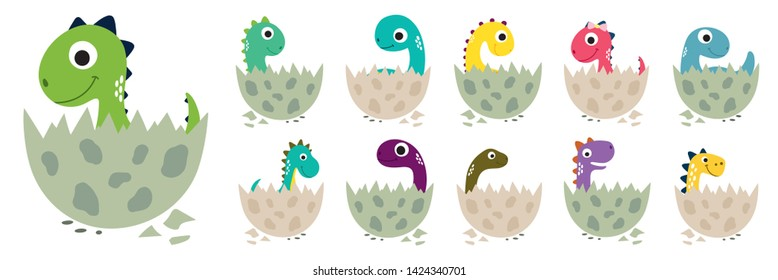 Cute cartoon dinosaurs collection. Vector illustration.