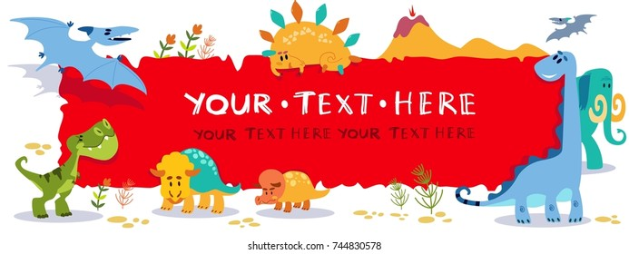 Cute cartoon dinosaurs with horizontal blank sign