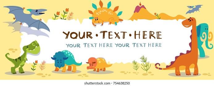 Cute cartoon dinosaurs with horizontal blank sign