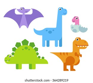 Cute cartoon dinosaurs set in simple modern flat style and bright colors. Vector illustration.