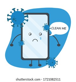 """Cute cartoon of dirty mobile phone is full of coronavirus with bubble text """"clean me"""". Concept of clean mobile phone, dirty phone."""