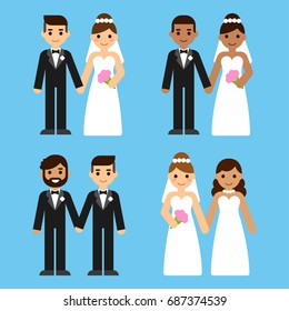 Cute cartoon diverse wedding couples set. Caucasian and black, mixed race and gay brides and grooms. Equal marriage concept vector illustration.