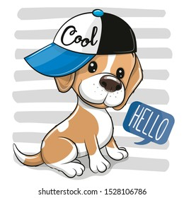 Cute cartoon Dog Beagle in a cap on a on a striped background