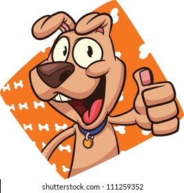 Cute cartoon dog with bone background. Vector illustration. Character and background on separate layer for easy editing.