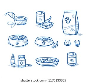 Cute cartoon dog  and cat food set. With feeding dish, food tin and box, and supplement icons. Hand drawn doodle vector illustration.