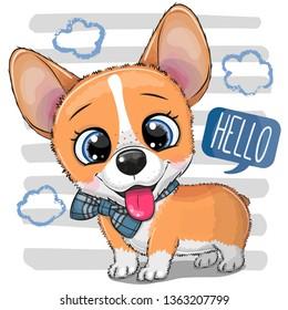 Cute cartoon Dog Corgi with a bowtie