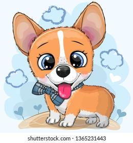 Cute cartoon Dog Corgi with a bowtie on a meadow