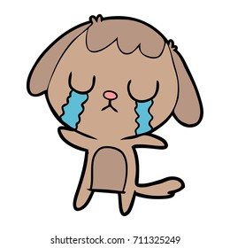 cute cartoon dog crying