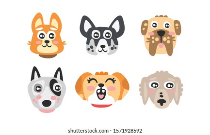 Cute Cartoon Dog of Different Breed Muzzles Vector Set