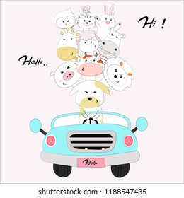 Cute cartoon a dog drive a car  travel with friend, animal travel by car on holiday,  illustration vector by doodle comic art for any card.
