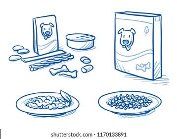 Cute cartoon dog food set. With feeding dish, food tin and box, icons. Hand drawn doodle vector illustration.
