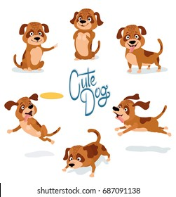 cute cartoon dog pointing, begging, standing, sitting, running, sniffing, playing with yellow plastic disc. set of dog poses on white. vector illustration