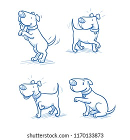 Cute cartoon dog set. Sitting, begging, happy wagging tail, listening. Hand drawn doodle vector illustration.