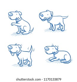 Cute cartoon dog set. Sitting, begging, happy wagging tail, lying. Hand drawn doodle vector illustration.