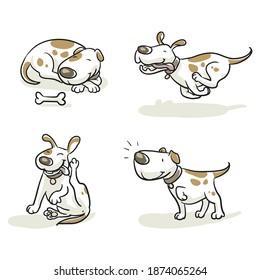 Cute cartoon dog set. Sleeping, scratching, peeing, listening. Hand drawn colored line art cartoon vector illustration.