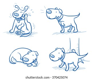 Cute cartoon dog set. Sleeping, scratching, peeing, listening. Hand drawn doodle vector illustration.