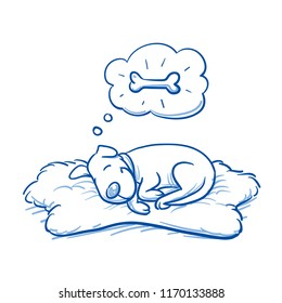 Cute cartoon dog sleeping on sheepskin rug, dreaming of a bone. Hand drawn doodle vector illustration.
