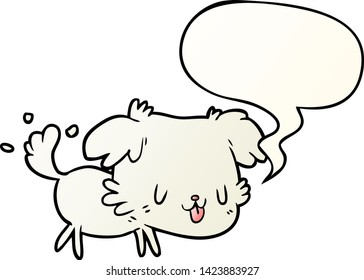 cute cartoon dog wagging tail with speech bubble in smooth gradient style