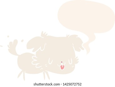 cute cartoon dog wagging tail with speech bubble in retro style