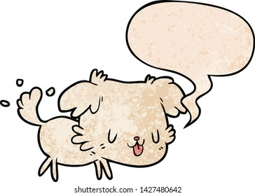 cute cartoon dog wagging tail with speech bubble in retro texture style