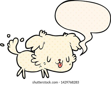 cute cartoon dog wagging tail with speech bubble in comic book style