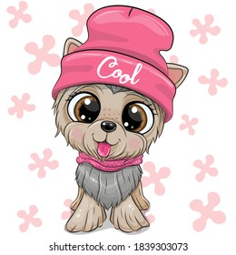 Cute cartoon Dog Yorkshire Terrier in a pink hat