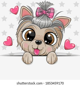 Cute cartoon Dog Yorkshire Terrier with a bow on a stars background
