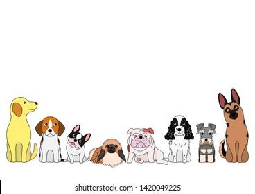 cute cartoon dogs sitting in a row