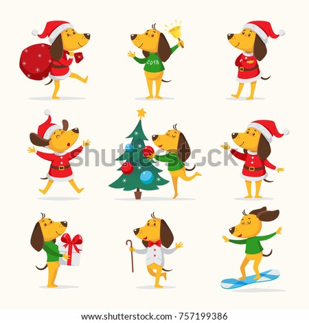 cute cartoon dogs vector clipart funny puppy the symbol of new year 2018