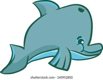 A cute cartoon dolphin - Vector clip art illustration on white background