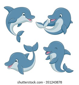 Cute cartoon dolphins set. Vector illustration.