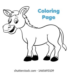 Cute cartoon donkey coloring page vector illustration