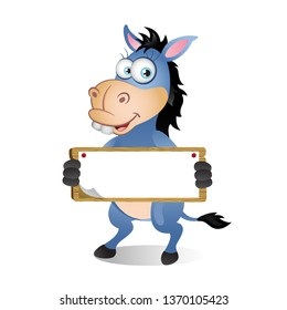 Cute Cartoon Donkey holding Blank Sign with both hands
